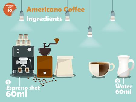 maquina vapor: gráficos de diseño de americano recetas de café, información gráfica de americano ingredientes del café, colección de la máquina de café, molinillo de café, leche, tiro espresso para hacer una gran taza de café. Vectores
