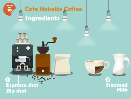 great coffee: graphics design of cafe noisette coffee recipes, info graphics of cafe noisette coffee ingredients, collection of coffee machine,coffee grinder, milk, espresso shot for making a great cup of coffee.