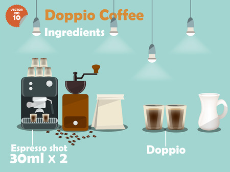 bar counter: graphics design of doppio coffee recipes, info graphics of doppio coffee ingredients, illustration collection of coffee machine,coffee grinder, milk, espresso shot for making a great cup of coffee.
