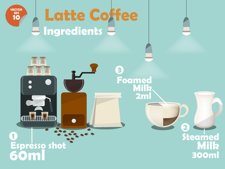 graphics design: graphics design of latte coffee recipes Illustration