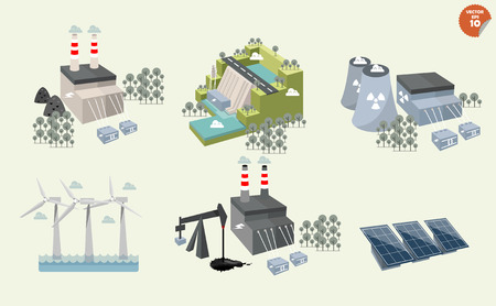 set of different power plant graphics design of different power plant renewable and nonrenewable energy sources: solar wind waterhydro powerpetroleum coal geothermal gas nuclear and biofuel.