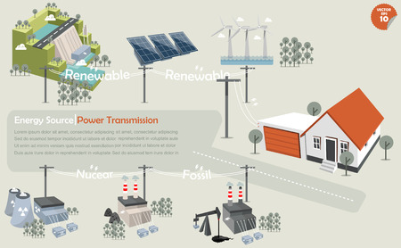 the info graphics of power transmission from source:hydropowersolar powerwind turbinenuclear power plantcoal power plant and fossil power plant that distributed the electricity to house Illustration