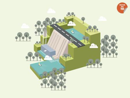 再生可能エネルギー sourcehydropowerdam と発電機ユニットと伝送ラインの立方形でデザイン設計