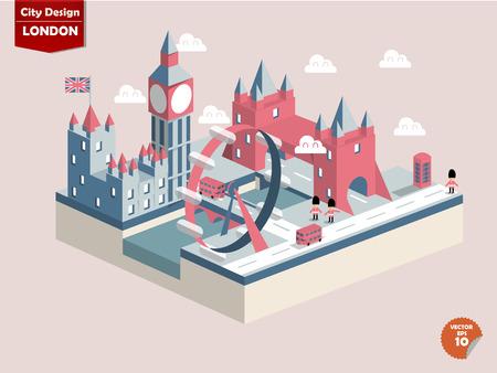 english bus: Londres EnglandLondon conception de la ville dans la conception perspectivecute de la ville de Londres se composent de bigbenElizabeth Towerlondon eyeriver thamespalace de westminstertower cabine téléphonique bridgeLondon Busesred Illustration