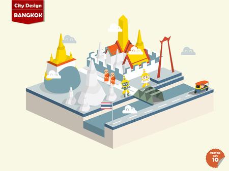 bouddha: Bangkok Tha�lande Bangkok conception de la ville dans la conception perspectivecute ville de Bangkok