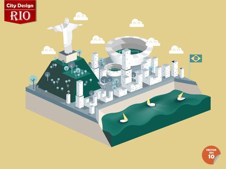 brasil: design vector of Rio de janeiro Brasil,Rio de janeiro city design in perspective,cute design of Rio de janeiro Illustration