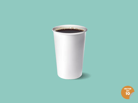 food and beverages: beautiful realistic paper  cup of espresso coffee on sweet color background