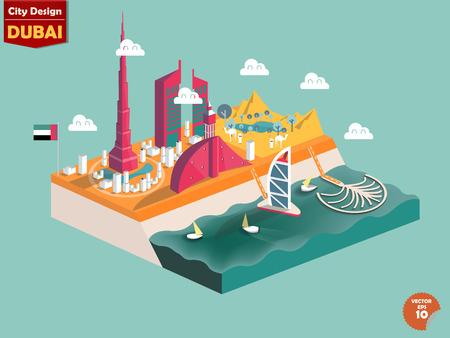 diseño del vector de dubai Emiratos Árabes Unidos, el diseño de la ciudad de dubai en perspectiva, diseño lindo de dubai