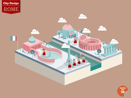 design vector of rome italy,rome city design in perspective,cute design of rome Ilustracja