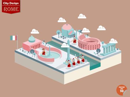 design vector of rome italy,rome city design in perspective,cute design of rome Illustration