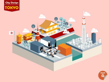 ontwerp vector van tokyo japan, tokyo stadsontwerp in perspectief, leuk ontwerp van tokyo Stock Illustratie