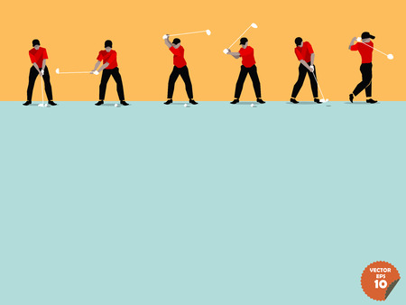 golf man: beautiful flat design of the step of golf swing