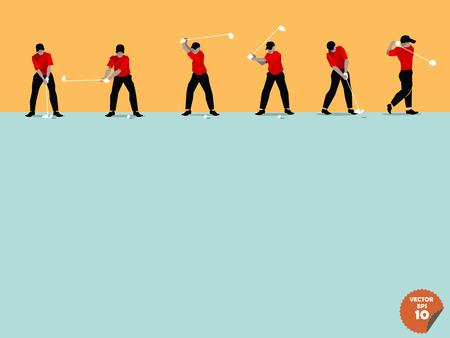columpios: diseño plano hermosa del paso del swing de golf