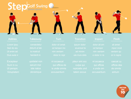 beautiful design of the step of performing golf swing,golf swing design,info graphics of the step of performing golf swing