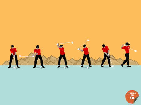 swing: beautiful flat design of the step of golf swing on mountain blackground Illustration