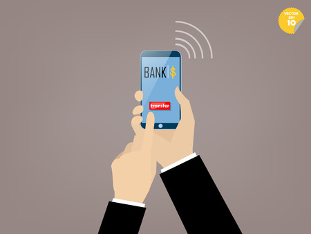 mobile banking: Hand of business man touching transfer button of mobile banking application on the smartphone screen