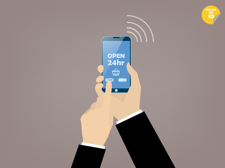 handphone: Hand of business man  touching smartphone with online shop on the screen Illustration