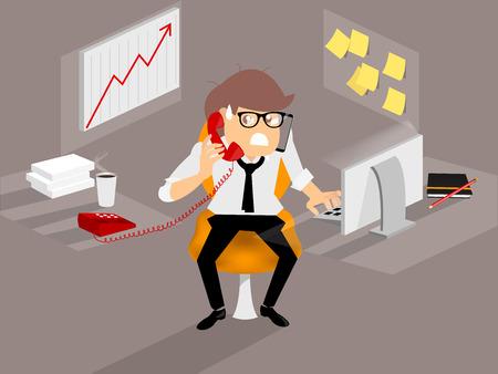 zakenman is erg druk van veel van het werk, hard werken begrip
