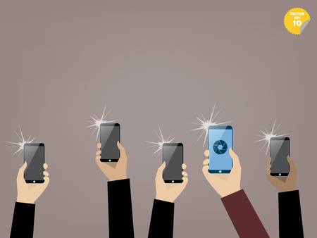 taking picture: taking picture with smartphone,snapshot with smartphone Illustration
