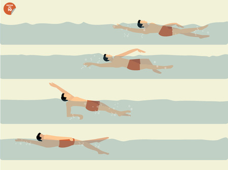 beautiful illustration vector of step to perform backstroke swimming, swimming design