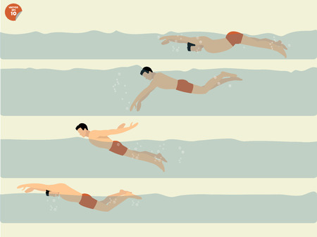 swimming pool woman: beautiful illustration vector of step to perform butterflystroke swimming, swimming design