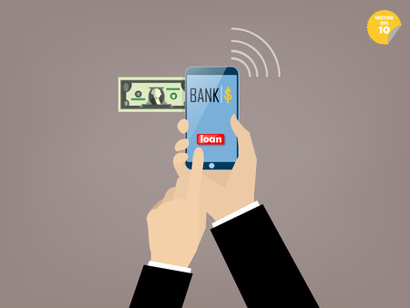 mobile banking: Hand of business man touching loan button of mobile banking application on the smartphone screen Illustration