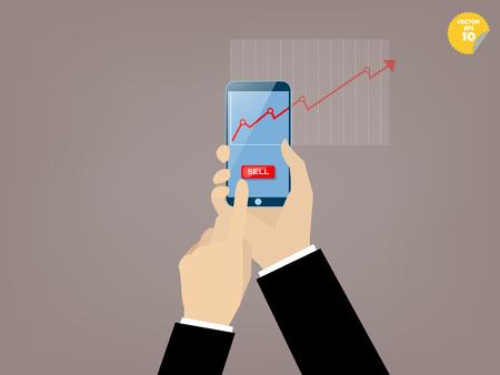 モバイル株取引でスマート フォンの画面上のアプリケーションの販売ボタンをタッチのビジネスマンの手