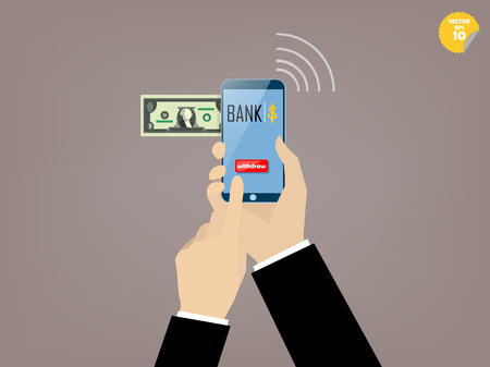 smartphone business: Hand of business man touching withdraw button of mobile banking application on the smartphone screen