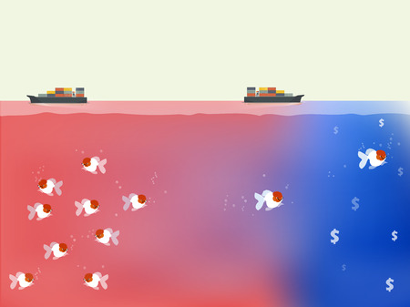 finding out: fishes are finding out the way to blue ocean,beautiful vector of blue ocean and red ocean business strategy concept