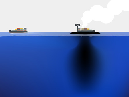 petroleum blue: fossil fuel is leaked from the ship to blue ocean,sea environment crisis concept