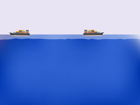 bulk carrier: cargo ships on the blue ocean,maritime transportation concept