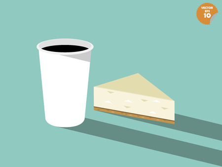 cheese cake: beautiful vector design of coffee and cheese cake Illustration