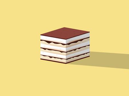 europe closeup: beautiful design of tiramisu cake ,colorful dessert concept design