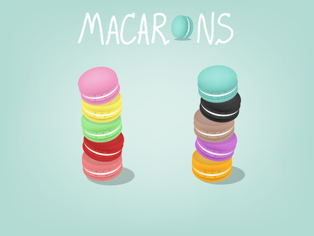 coffee and cake: design of sweet and colorful macarons, stacked up macarons Illustration