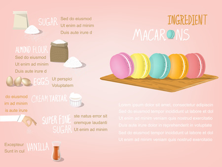 dessert: sweet colorful info-graphic design of macarons ingredient that consist of sugar,almond flour,eggs,cream tartar,super fine sugar and vanilla,dessert design concept Illustration