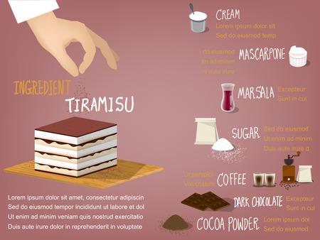 pastel de chocolate: colorido diseño info gráfico dulce de la torta tiramisú ingrediente que consisten en crema, mascarpone, marsala, el azúcar, el café, el chocolate negro y el cacao en polvo, postre concepto de diseño