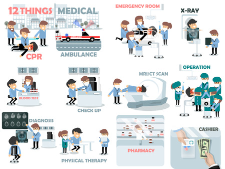 surgeon: bella grafica di elementi medicali, 12 attivit� medica consistono di CPR, Ambulanza, Pronto Soccorso, a raggi X, Analisi del sangue, Check Up, risonanza magnetica o TC, Operation, diagnosi, Fisioterapia, Farmacia, cassiere Vettoriali