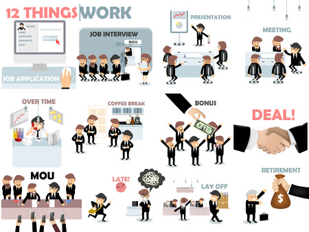 jobs: beautiful graphic design of work,12 things of work situation consist of job application,job interview,presentation,meeting,over time,coffee break,bonus,deal,MOU,late,lay off and retirement Illustration