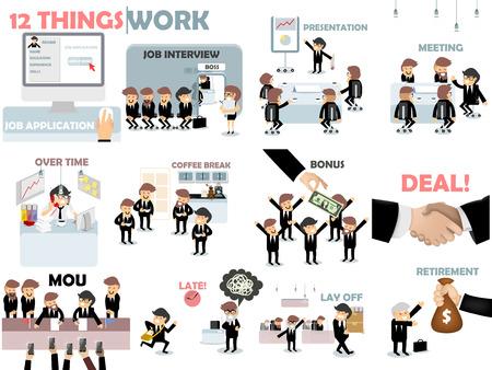 trabajando duro: dise�o gr�fico hermoso del trabajo, 12 cosas de la situaci�n de trabajo constan de solicitud de empleo, entrevista de trabajo, presentaci�n, reuni�n, con el tiempo, coffee break, bono, trato, MOU, tarde, despedir y la jubilaci�n