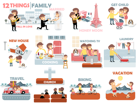 tv: beautiful graphic design of family,12 things of family activities consist of fall in love,married,honey moon,child,buying new house,cooking,watching TV,laundry,gardener,travel,biking and to the beach Illustration