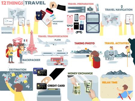 旅行の美しいグラフィック デザイン、旅行者活動の 12 もの: 予約ホテル、パスポート、荷物準備、バックパック、交通、写真、活動、宛先、クレジ