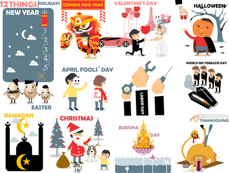 labor day: beautiful graphic of 12 international holidays: new year,chinese new year,valentines day,halloween,easter,april fools day,labor,world no tobacco,ramadan,christmas,buddha day,thanksgiving
