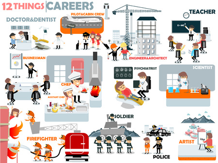 graphic artist: beautiful graphic design of popular careers: doctor,dentist,pilot,cabin crew,engineer,architect,teacher,businessman,chef,assistant chef,psychiatrist,scientist,firefighter,soldier,police,artist Illustration