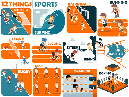 sports: beautiful graphic design of popular sports:soccer,surfing,basketball,running,tennis,cycling,extreme sports,hiking,baseball,rugby,golf,swimming and boxing