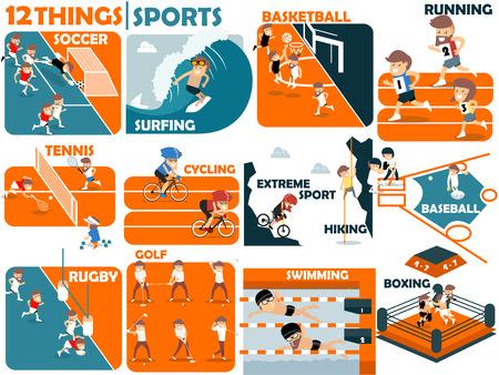 deporte: diseño gráfico hermoso de los deportes populares: fútbol, ??surf, baloncesto, correr, tenis, ciclismo, deportes extremos, senderismo, béisbol, rugby, golf, natación y boxeo Vectores