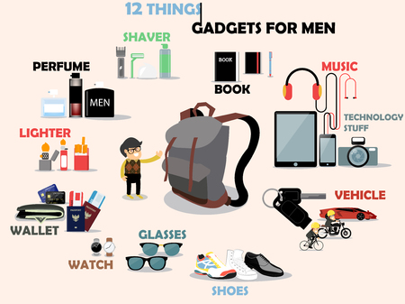 sun glasses: beautiful graphic design of 12 gadgets for men: shaver,perfume,lighter,wallet,wrist watch,sun glasses,shoes,vehicle,technology stuff tablet,smartphone,camera and book