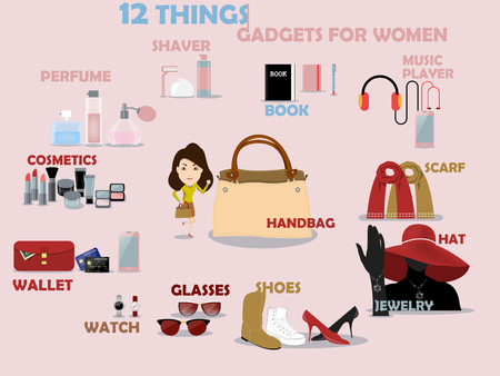 for women: beautiful graphic design of 12 gadgets for women: shaver,perfume,cosmetics,wallet,watch,glasses,shoes,jewelry,hat,scarf,music player,book Illustration