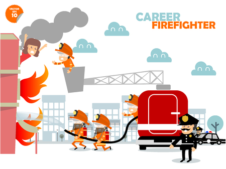 fire and water: Firefighters fighting building on fire and rescuing woman who stuck in there,firefighters career concept design Illustration