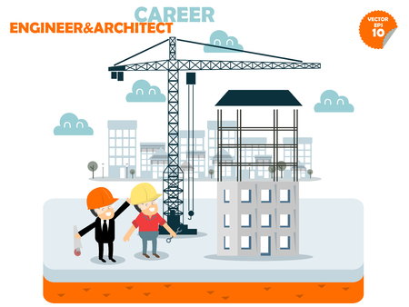 engineers: engineer and Architect are working at building construction site,engineer and architect career concept design