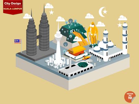 관점에서 쿠알라 룸푸르 말레이시아의 아름다운 디자인 벡터, 쿠알라 룸푸르 도시 디자인, 쿠알라 룸푸르의 귀여운 디자인 일러스트